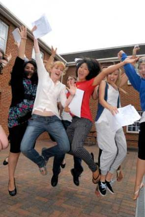 Nonsuch High School for Girls pupils celebrating last year's exam results