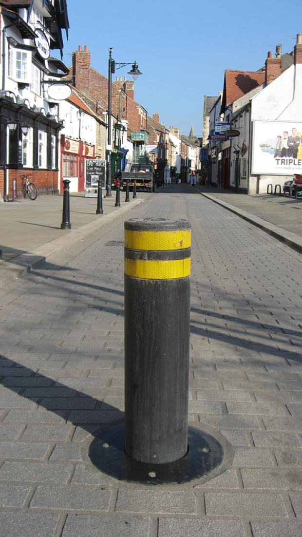 A primary school will have pencil shaped bollards