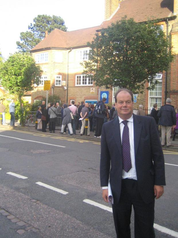 Denied: Wimbledon MP Stephen Hammond was not allowed in the meeting at Dundonald Primary School