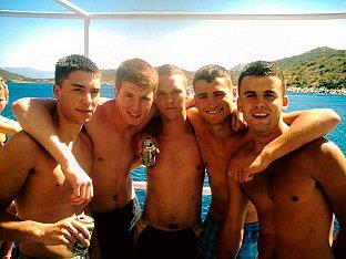 Sutton Guardian: Joseph Bruckland (second from right) is one of six men accused of a brutal attack on semi-professional footballer Robbie Hughes while on holiday in Malia in June 2008.
