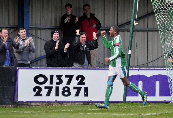 Ray of light: Vernon Francis celebrates scoring his goal for Leatherhead on Saturday