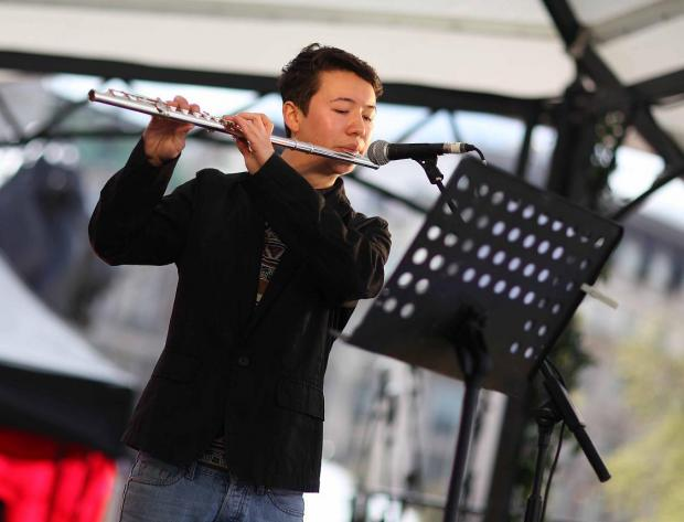 Sutton teen Daniel Shao performs at Trafalgar Square St George's Day celebrations