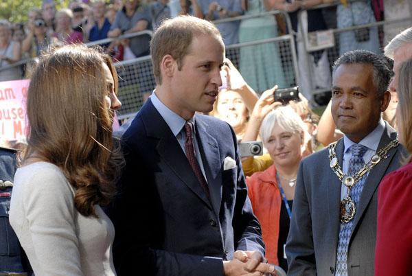 Sutton Mayor Gerry Jerome with the Duke and Duchess of Cambridge