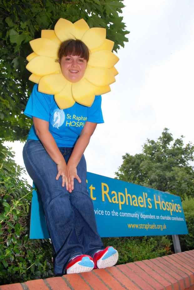 Past fundraising efforts: Begona Castro dressed as a sunflower to raise funds for St Raphael's Hospice in 2009
