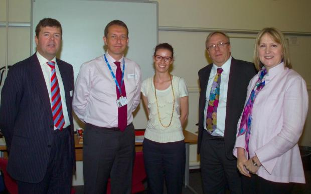 Paul Burstow MP and Minister for Care Services (far left), St Helier Chief Executive Matthew Hopkins (second left) and Nigel Edwards, Senior Fellow for the King's Fund (second right) with other colleagues from the King's Fund