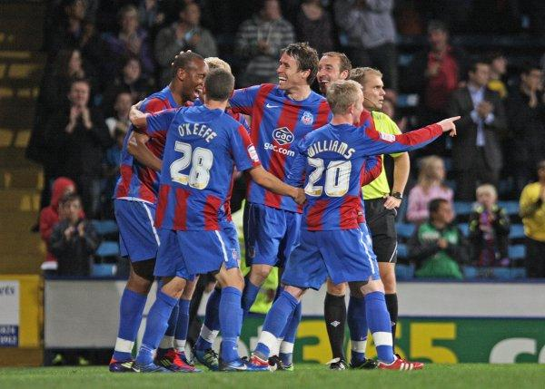 Happy memories: Calvin Andrew, far left of the group, celebrates scoring against Middlesbrough earlier this season