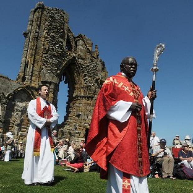The Archbishop of York Dr John Sentamu led a Pentecost service at Whitby Abbey