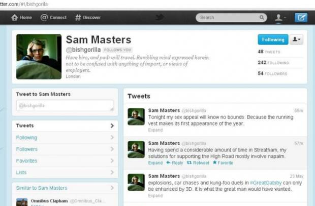 A screen grab of Sam Masters' Twitter account, which was later deleted.