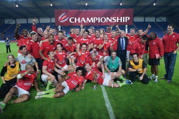 Champions: London Welsh celebrate their play-off final win last week. Dave Jackson
