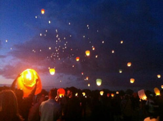 Lanterns covered the night sky over Roundshaw airfield in memory of Wallington boxer Lewis Pinto