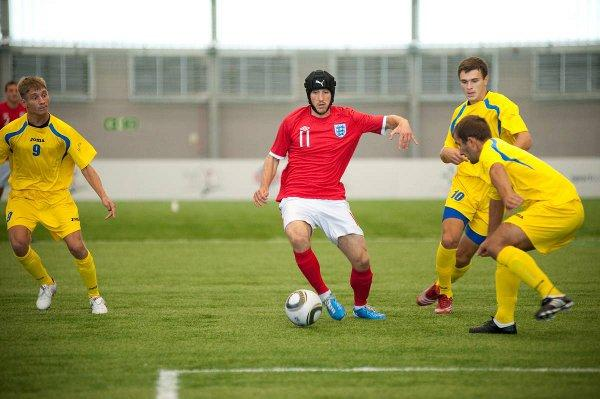Robbie Hughes playing for England against Ukraine in the European Championships