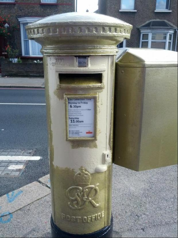 The golden post box in Carshalton