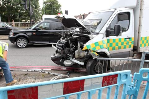Van crashes into railings in Oldfields Road, Sutton