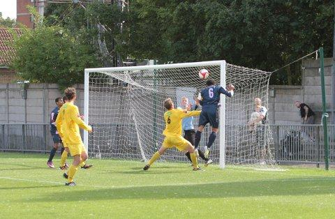 High and dry: Lewis Gonsalves scores Dulwich's second goal against Ramsgate on Saturday 	SP68678