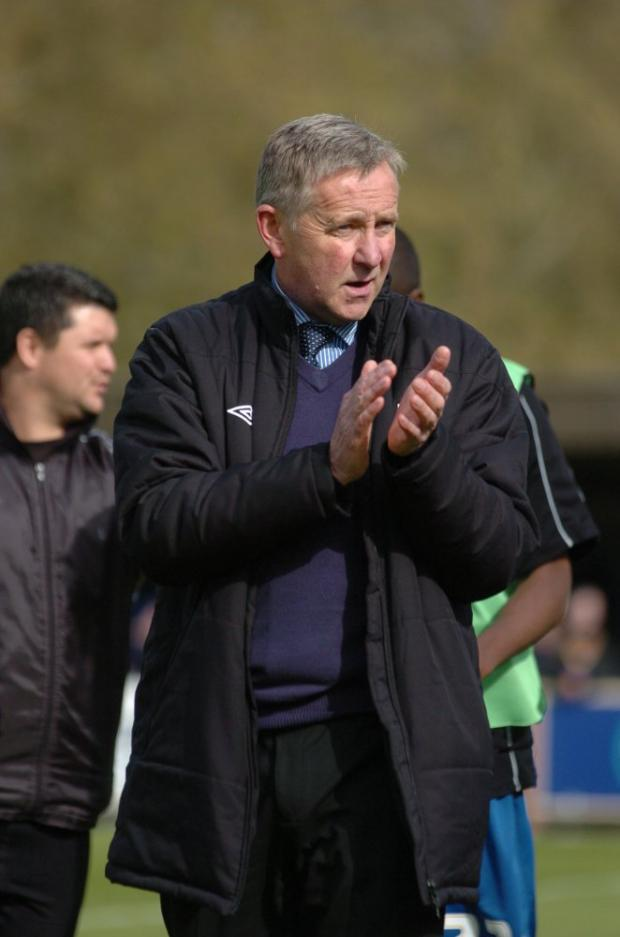Great relationship: Terry Brown applauds the Dons' fans at the end of last season     SP66591