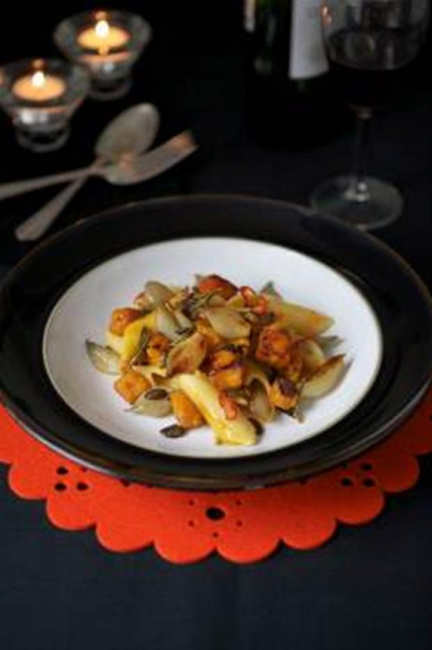 Roast Shallots with Pennoni Regati, Chargrilled Pumpkin and Pumpkin Seeds