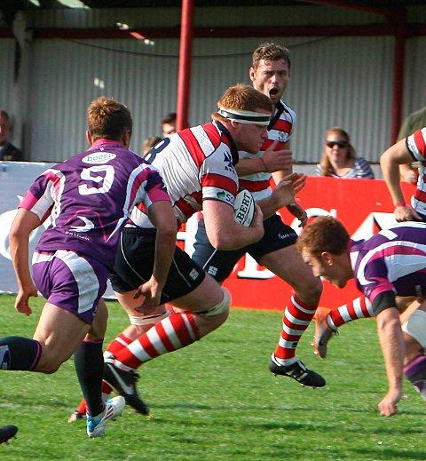 Park on song: Hugo Ellis piles into the Loughborough defence during Park's 38-19 win        David Whittam