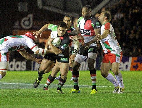On the radar: Quins number 10 Ben Botica, son of Kiwi rugby league legend Frano Botica showed his big match temperament at the Stoop on Saturday night 	Deadlinepix SP71162