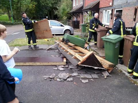 Porch collapses in Carshalton