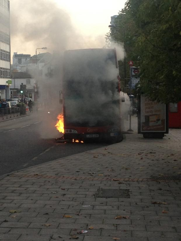 Firefighters tackle bus inferno next to Sutton Green