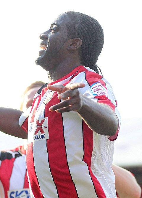 On target: Clayton Donaldson scored the winner at Pompey on Tuesday after finding the net in Saturday's cup triumph at Boreham Wood