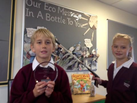 James Barry and Maisie Davies who are both in Y6 and on the Eco Team