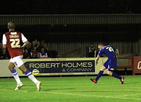 On the way: Charlie Strutton fires the opening goal against York City that eventually set up the FA Cup meeting with MK Dons    SP71719