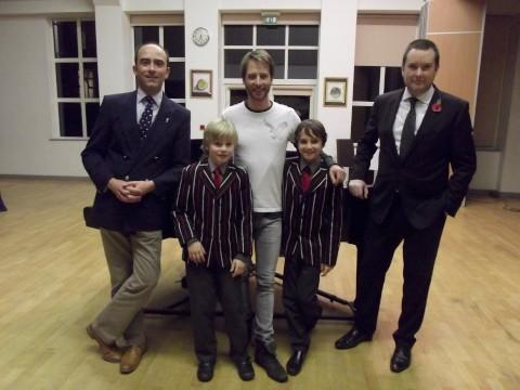 Chesney with Shrewsbury House headmaster Kevin Doble,  pupils Jonathan Cassens and Luca Wade, and head of music Benjamin Costello