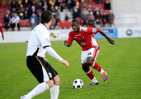 Back in the game: Nathaniel Pinney, while on loan at Ebbsfleet from Crystal Palace      SP62670