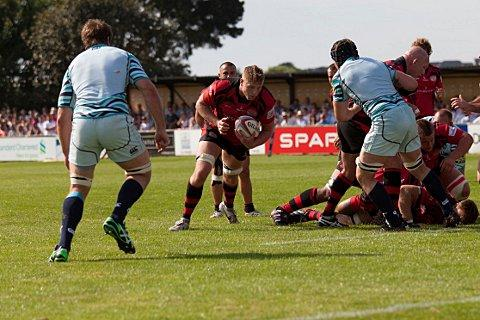 Sutton Guardian: Leading the charge: Rob Anderson in pre-season action for Jersey against Leicester Tigers