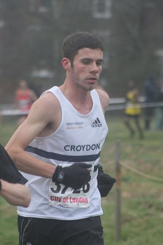 Front-runner: David White led the Harriers quartet home in 17th spot at the 10km London Championships