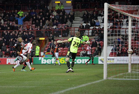 Perfect 10: Clayton Donaldson guides home the opener at the weekend to notch his 10th g