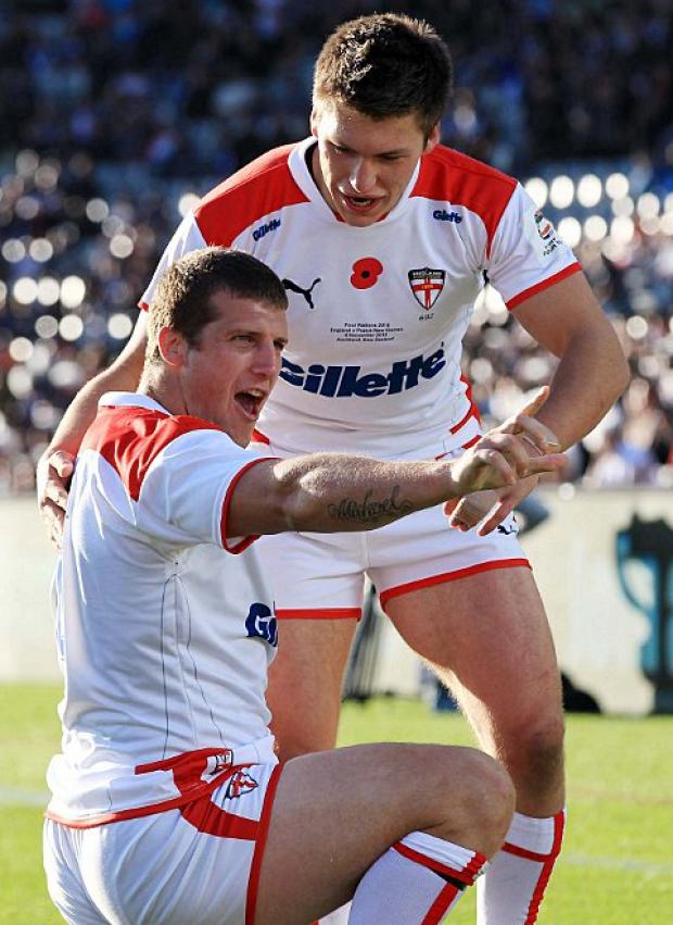 Try time: Broncos forward Tony Clubb celebrates a try for England    Picture: swpix.com