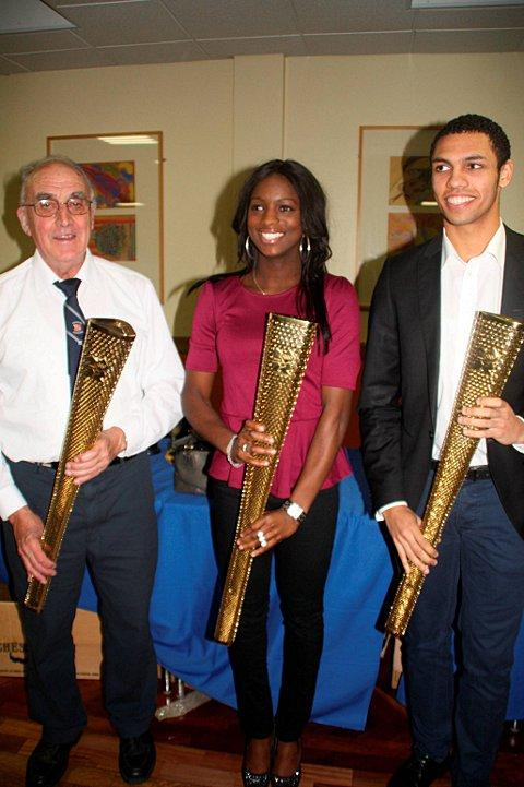 Leading the way: Croydon Harriers torch bearers Mike Fleet, Twinelle Hopeson and Elliott Safo