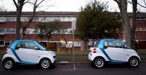 Two car2go vehicles take up neighbours' spaces in Christchurch Park in 2012