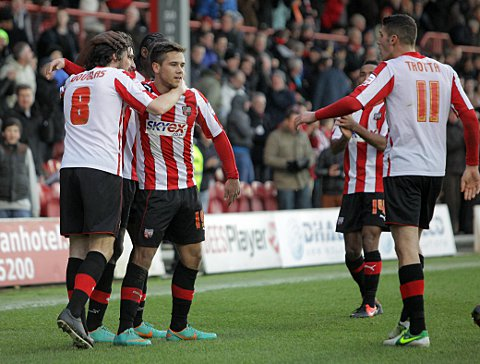 Please don't go: Bees skipper Jonathan Douglas makes his feelings towards Harry Forrester known on Saturday	SP70839