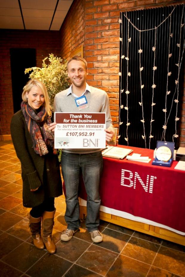 Laura Hamilton with BNI Sutton member John Sell