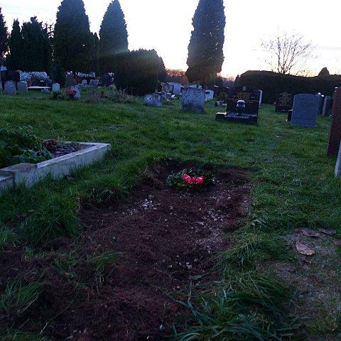 Josie Berrington's unmarked grave after the other gravestone was moved