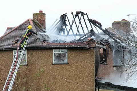 Sutton Guardian: Devastation after fire rips through house in Midway, near Sutton Common Recreation Ground