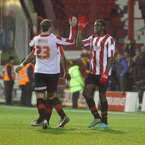 Hot shot: Clayton Donaldson celebrates his FA Cup strike against Bradford City