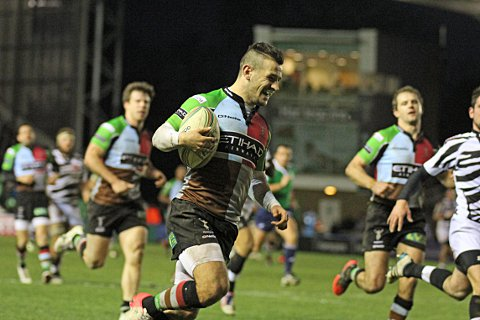 Keep try-ing: Quins scrum half Danny Care scoresagainst Italian minnows Zebre