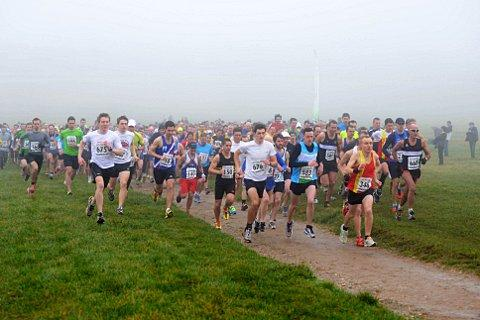 And they're off: Runners set off at the start of the annnual Tadworth Ten at Epsom Racecourse         SP72881