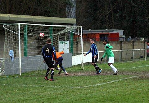 One up: Whyteleafe's Getro Kilapi opens the scoring in the 3-0 win over Sevenoaks    SP73253
