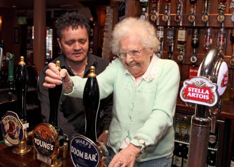 Sutton Guardian: Grandmother Nancy Weston from Worcester Park celebrates 100th birthday down the pub