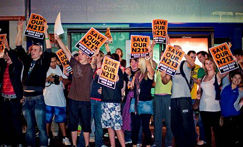 Campaigners protest at the loss of the N213 bus