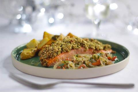 Recipe: Herby crust salmon with fresh shallot, tomato and herb sauce