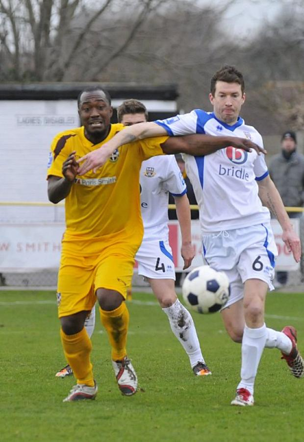 Cheers on the boys: Richard Pacquette on his Sutton United debut in the 2-1 win over Eastleigh   SP73057