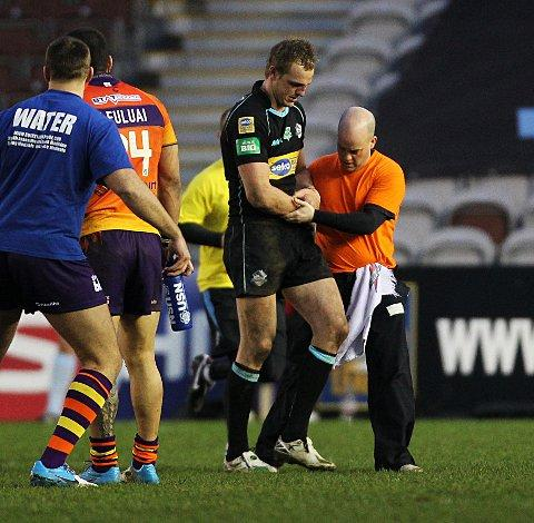 Out: David Howell limps out of Sunday's defeat to Widnes Vikings