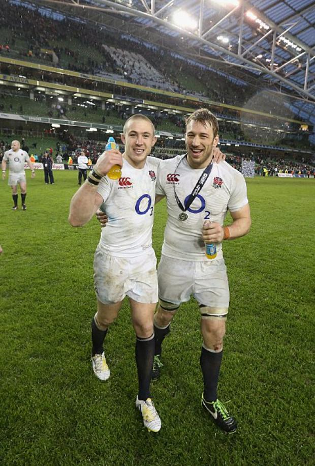 Happy days: Quins captain Chris Robshaw, right, and MIke Brown celebrate England's win in Dublin   Getty Images