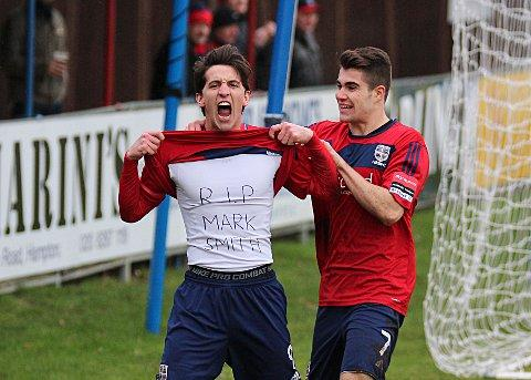 Tribute: Hampton striker Charlie Moone makes his own tribute to former Beveree bar manager Mark Smith, who died in January